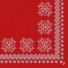 Ubrousek 40x40 DNL Knitting Red 50ks | Duni - Ubrousky, kapsy na příbory - Dunilin 40x40