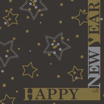 Ubrousek 33x33 3V New Year Black 50ks   Duni - Ubrousky, kapsy na příbory - 3 vrstvé ubrousky