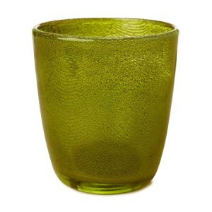 Candle 10,5x9cm Holder Raindrop Green | Duni - Svíčky, svícny, kroužky - svícny & kroužky