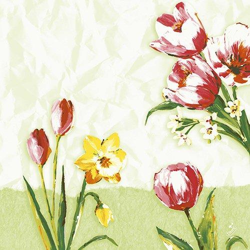 Ubrousek 40x40 DNL Red Tulip 50ks | Duni - Ubrousky, kapsy na příbory - Dunilin 40x40