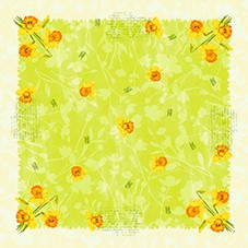 Ubrus 84x84 DSilk Spring Flowers omyvat | Duni - Ubrusy, šerpy, prostírky - Omyvatelný ubrus