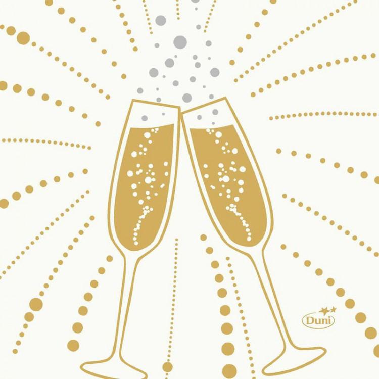 Ubrousek 24x24 3Vr Festive Cheers Wh 50k | Duni - Ubrousky, kapsy na příbory - 3 vrstvé ubrousky