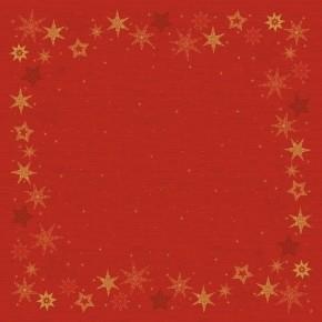 Ubrus 84x84 DSilk Star Stories Red omyva | Duni - Ubrusy, šerpy, prostírky - Omyvatelný ubrus