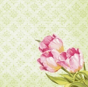 Ubrousek 40x40 Dsoft Love Tulips 60ks | Duni - Ubrousky, kapsy na příbory - Airlaid 40x40