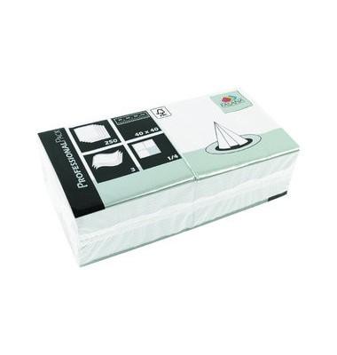 Ubrousek 40x40 3V bílý 250ks | Papírové a hygienické výrobky - Ubrousky - Vícevrstvé